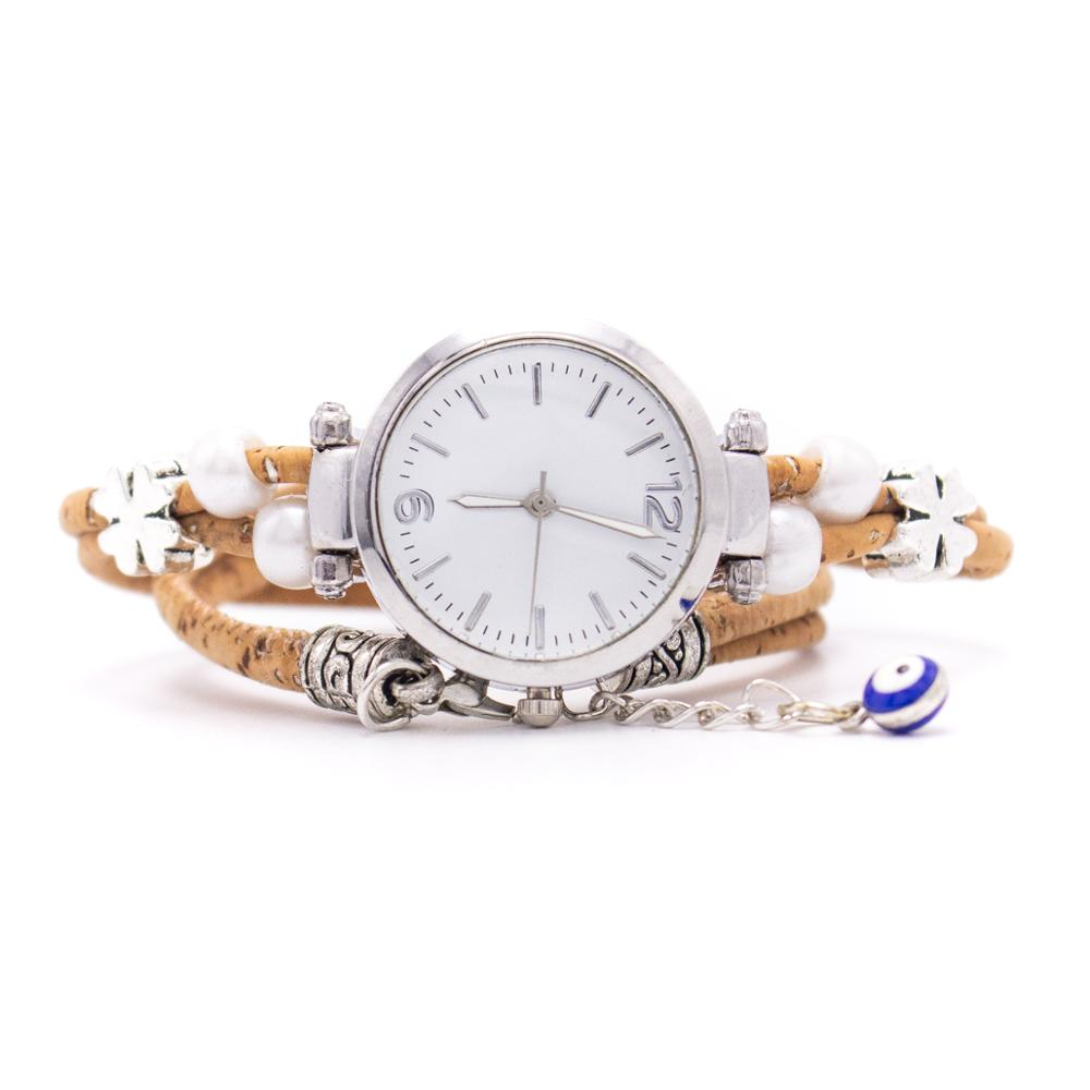Cork Natural Color Ladies Watch Belt, Cork Bracelet, Cork Silver Watch, Bracelet Watch, DIY-013-1