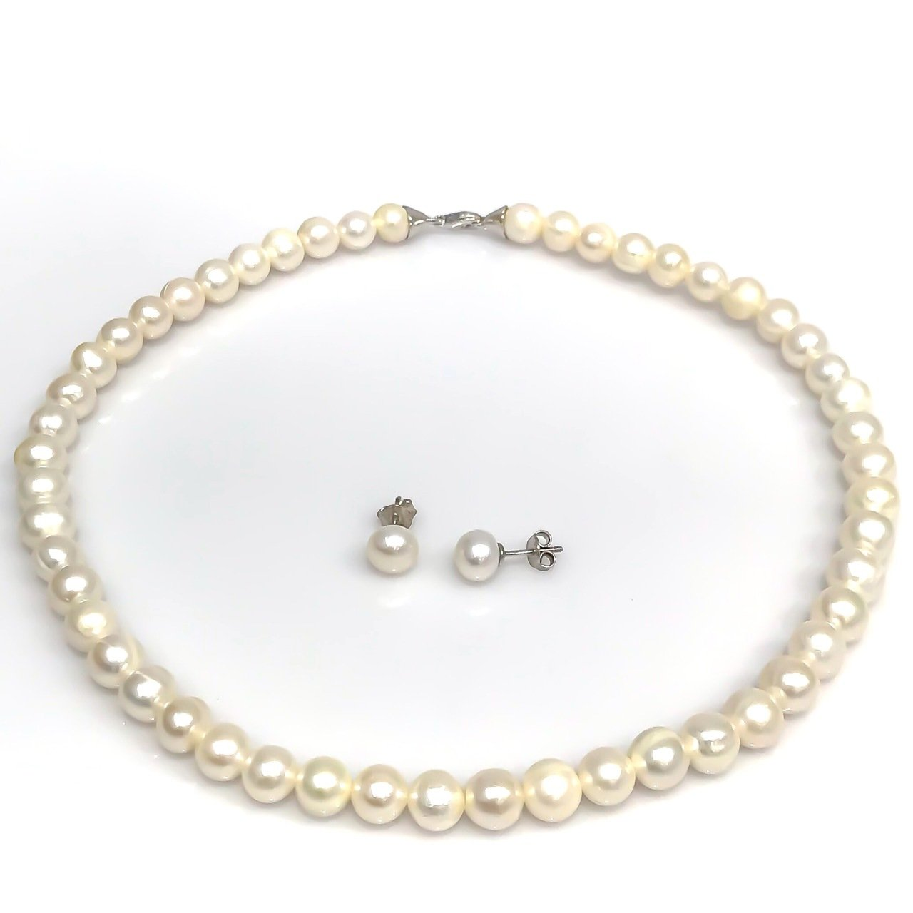 Genuine White Pearl Necklace Earring Silver Set