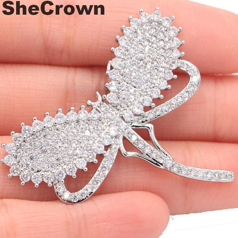 2018 New Designed Big Dragonfly Dicipta White Sapphire Wanita SheCrown Silver Pendant 45x39mm