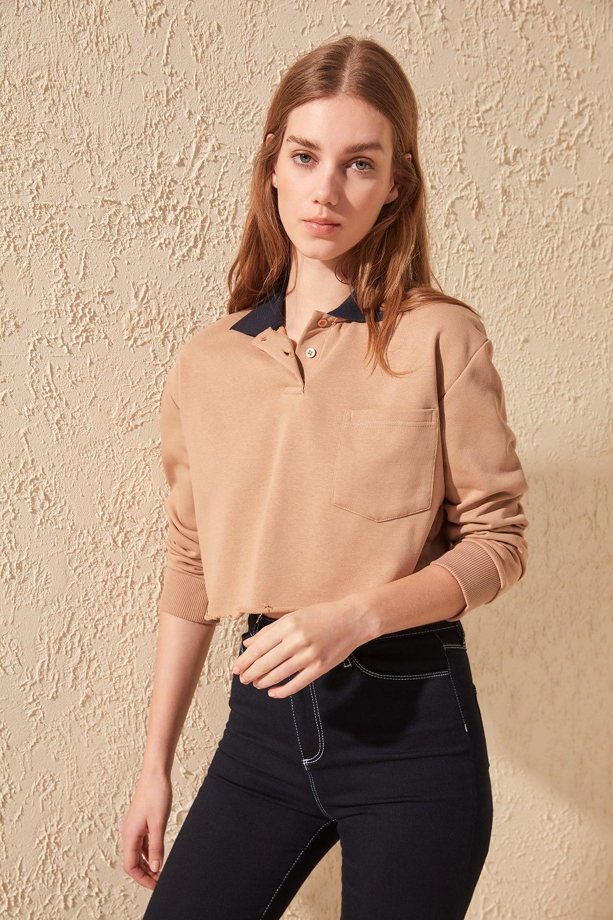 Trendyol Polo Neck Crop Knitted Sweatshirt TWOSS20SW0108