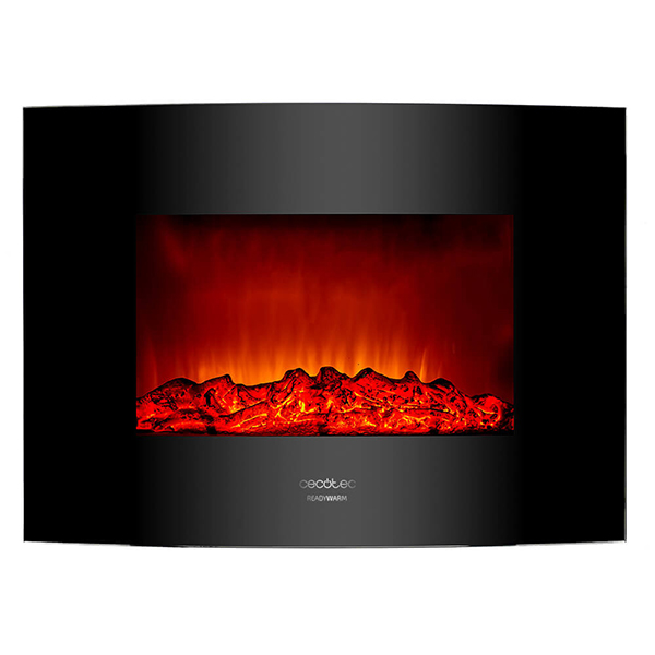 Decorative Electric Chimney Breast Cecotec Warm 2200 Curved Flames 2000W Black