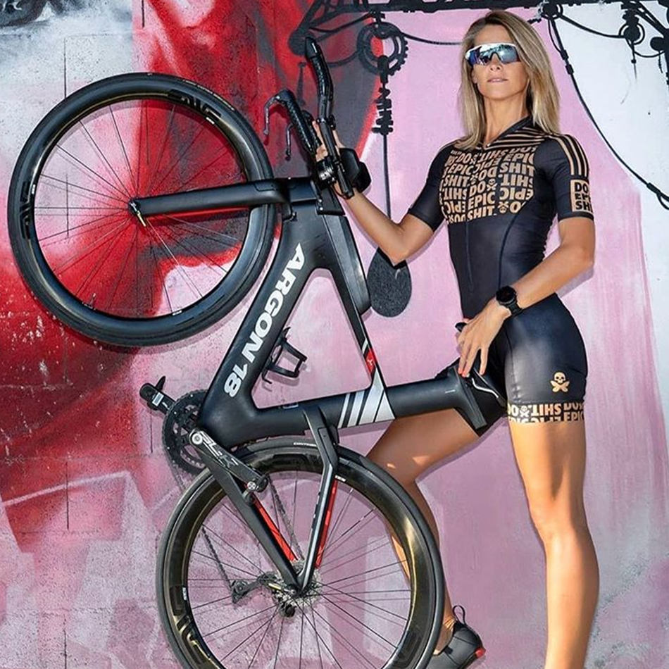 Betty trisuit pro team black short sleeve set custom clothes ropa ciclismo maillot cycling apparel bike clothes skinsuit in Cycling Sets from Sports Entertainment