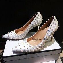 MNK 930012 Stylish Rivet Pointed Toe Elegant Sheepskin Pumps 6/9CM Chic Stilettos Fancy Fashion Party Wedding Women Shoe