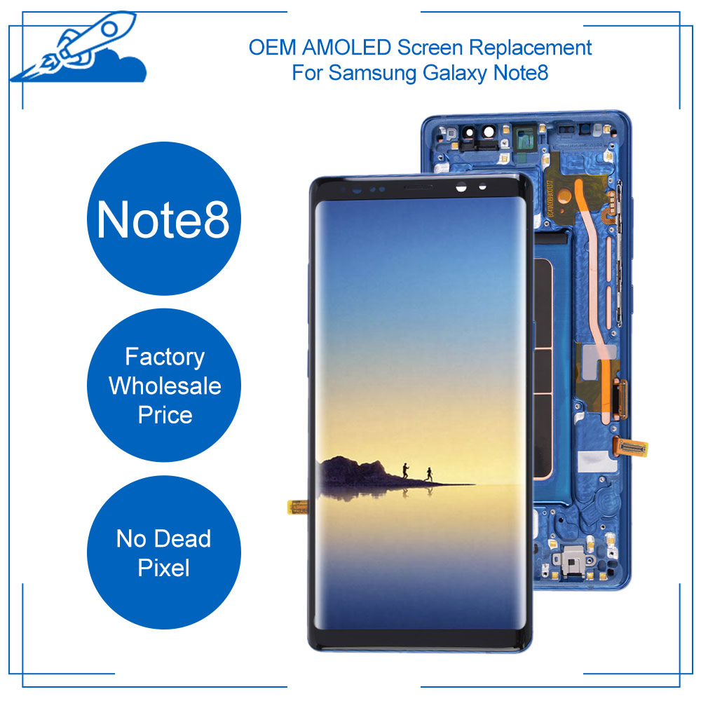OEM AMOLED Display <font><b>For</b></font> <font><b>Samsung</b></font> <font><b>Galaxy</b></font> NOTE8 N950 <font><b>N950F</b></font> LCD Full Assembly Touch <font><b>Screen</b></font> Replacement With Frame USA+China Warehouse image