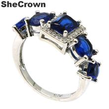 26x10mm 2019 New Arrival Created Tanzanite White CZ Gift For Sister Silver Rings