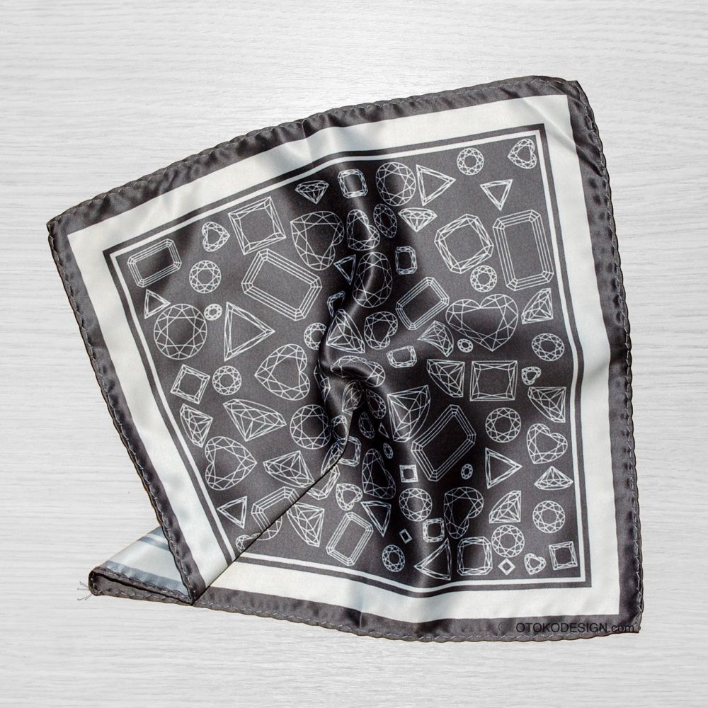 Dark Gray Geometric Pocket Square With Wide White Edging (52662)