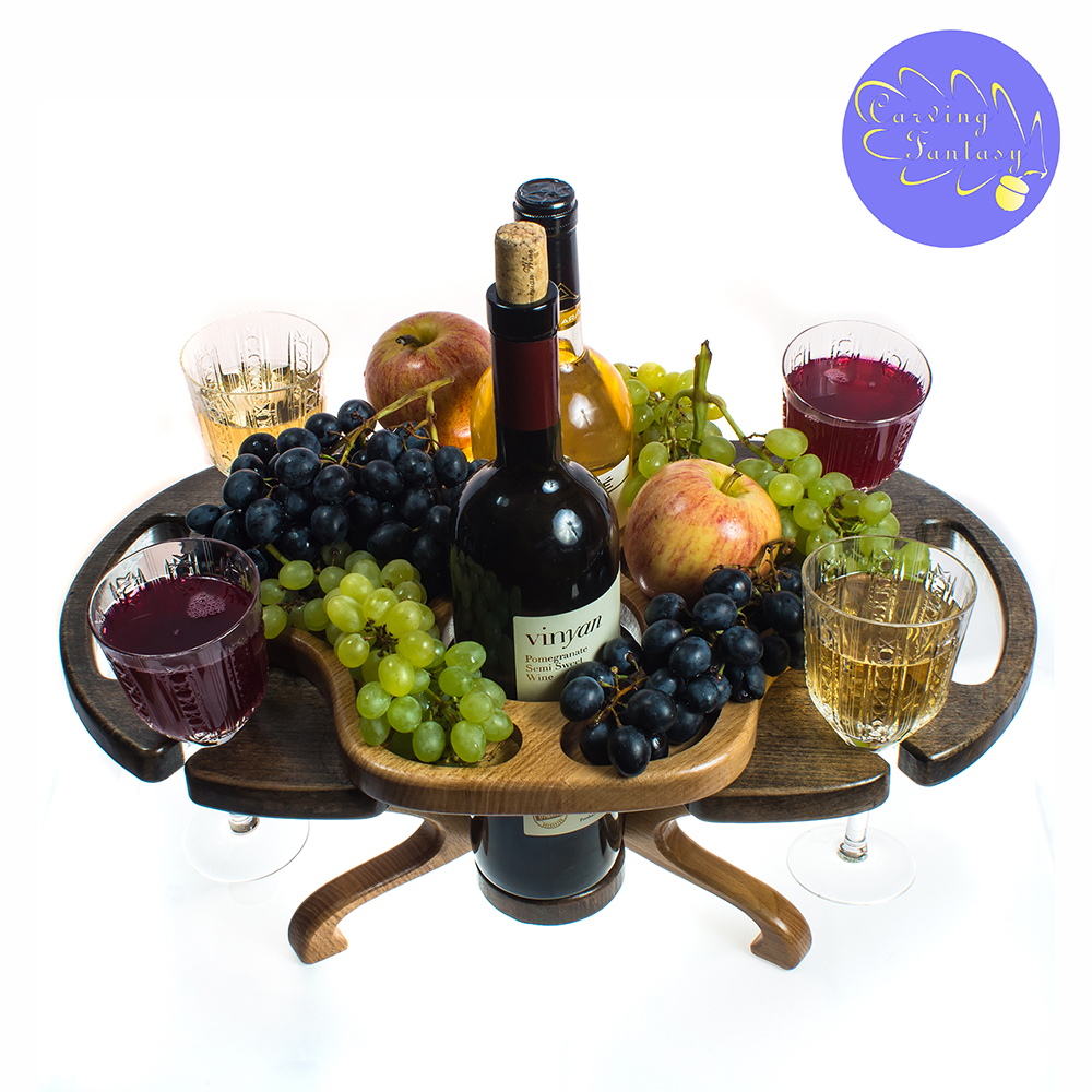 Wine table made of wood.  Serving ...