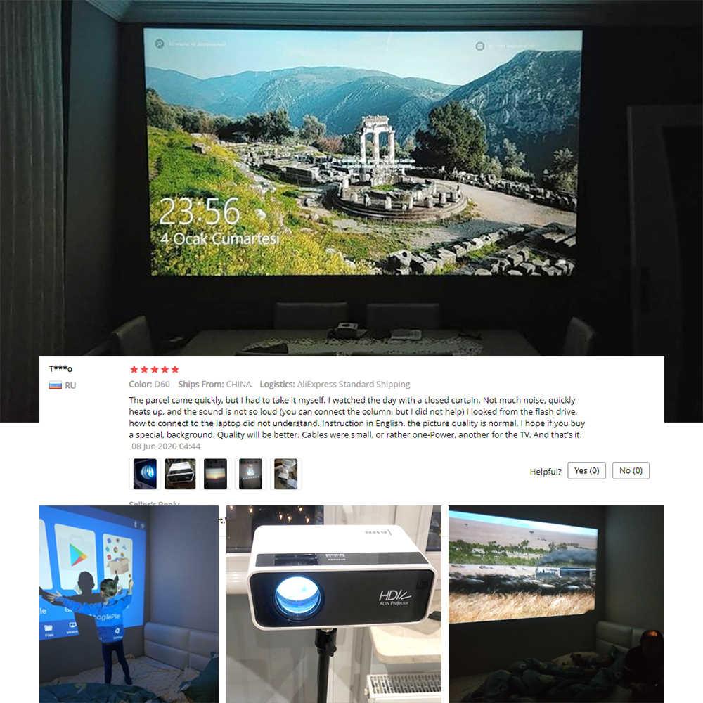 AUN Mini proyector D60/S 1280x720P LED Android WiFi proyector para teléfono inteligente soporte Full HD 4K Bluetooth 3D