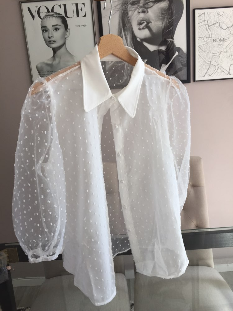 Summer Women Chiffon Blouse Shirt Sexy Transparent Mesh Beading Puff Sleeve Female Office Shirts Lady Blusa Outfits photo review