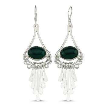 Silver 925 Sterling Green Agate Gemstone Dangle Hand Handwork Earrings
