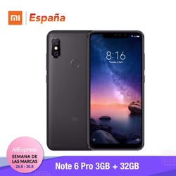 [Globalna wersja dla hiszpanii] Xiaomi Redmi uwaga 6 Pro (Memoria interna de 32 GB, RAM de 3 GB, bateria 4000, Cuatro camaras con IA) 2