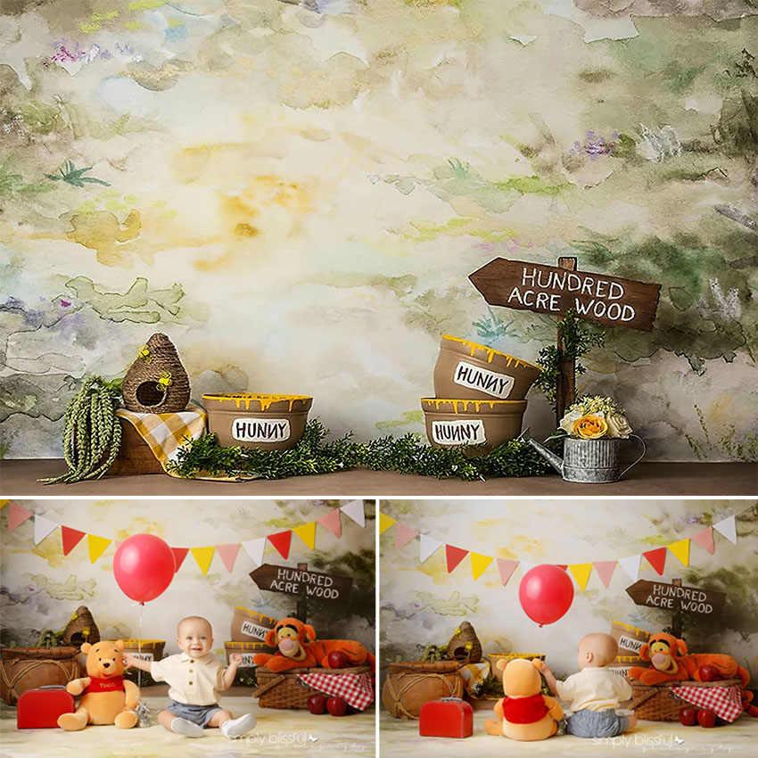 Hunny niedźwiedź fotografia tło słodki miód kubuś puchatek noworodek dziecko portret tło na urodziny Photo Studio fotokomórki