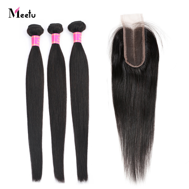 Brazilian Straight Hair Bundles With Closure Middle Part Sew In Hair Weave With Closure Meetu Non Remy Human Hair With Closure