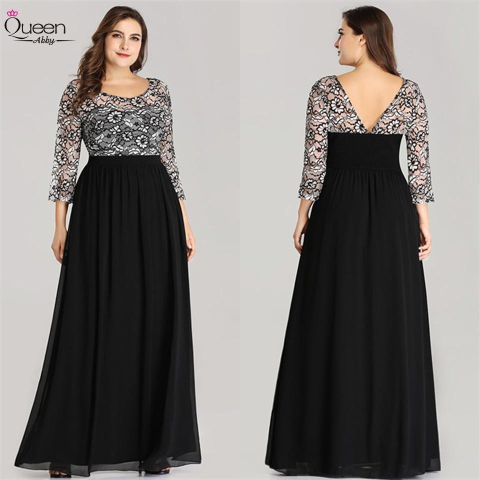 A-line Plus Size Floor-length Evening Dress  Fall Lace Chiffon Scoop Dress 3/4 Sleeves Party Gown Vestidos De Fiesta De Noche