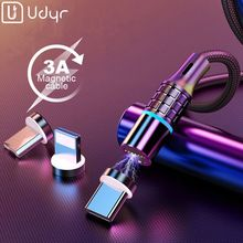 Udyr 1m 2m Magnetic Cable LED Micro usb Type C Charging For iPhone X 7 8 XS Max XR Huawei Samsung xiaomi LG