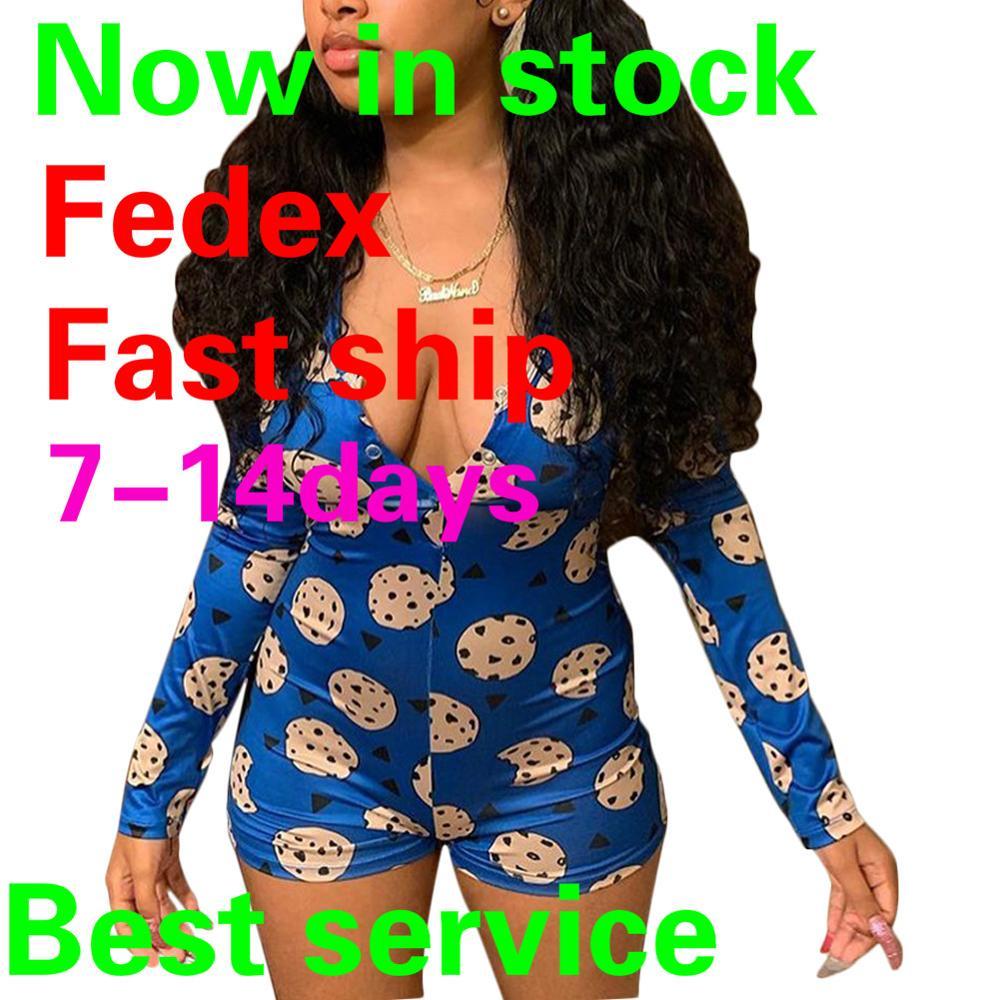 Sexy V-Neck Short Sleeve Bodycon Bodysuit Casual Printed Button Sleepwear Jumpsuit Print Bodycon Sleepwear Jumpsuit