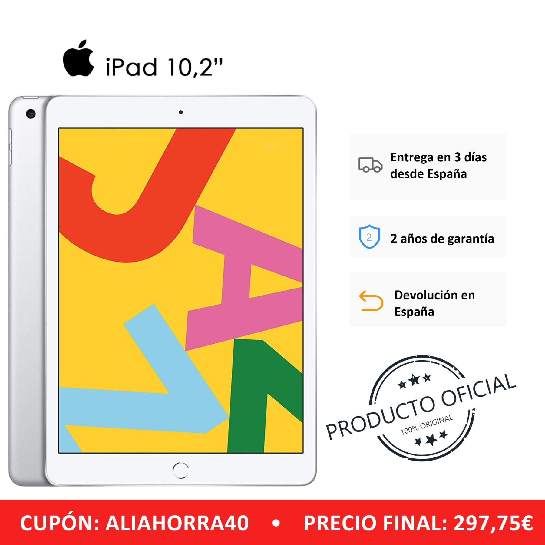"""Apple IPad Tablet Color Silver (Silver) 32 GB ROM Wi-Fi Band 10.2 """"Retina Display 8 MP Rear Camera 10-inch Tablet"""
