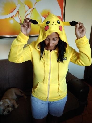 Kawaii Women Hoodie Sweatshirt Pokemon Go Hoodies Sweatshirt Casual Pikachu Hoodie Jacket Coat Sweatshirt Animal Costume photo review