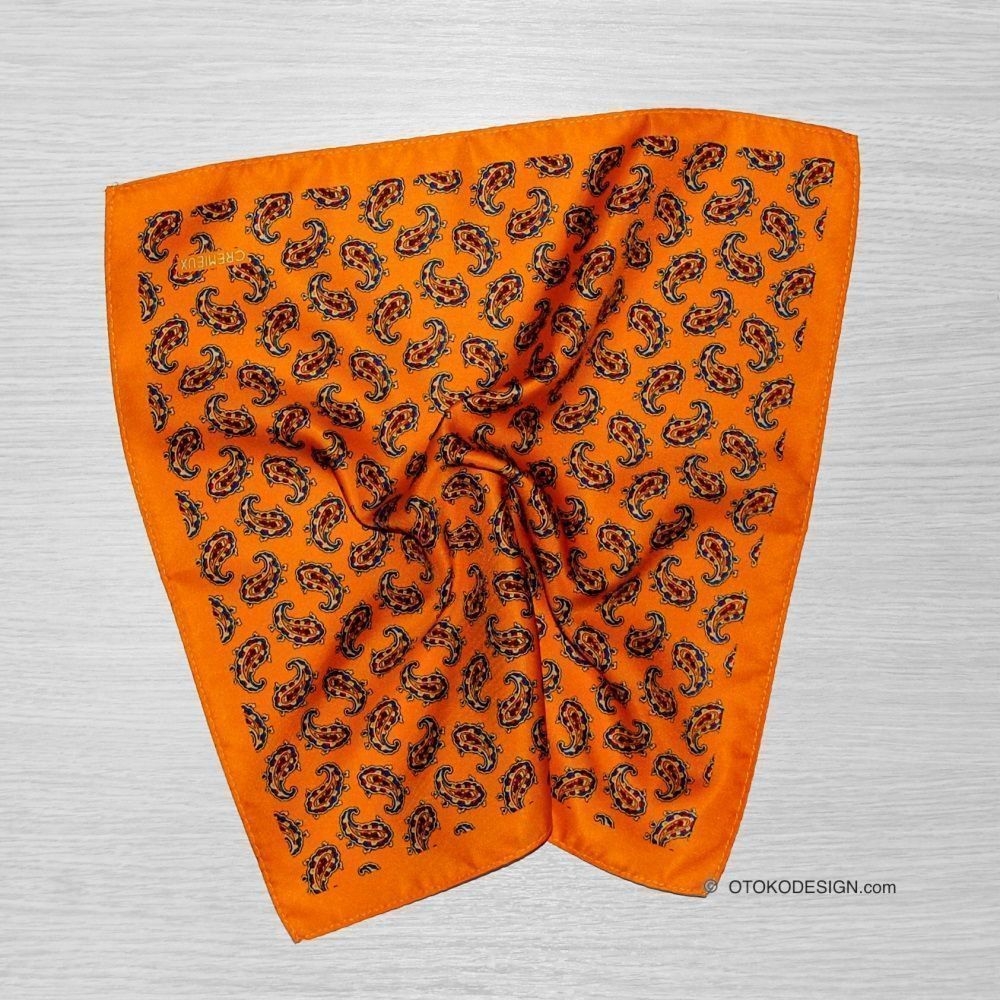 Pocket Square For Silk Mustard Jacket With Cucumber Pattern (51838)