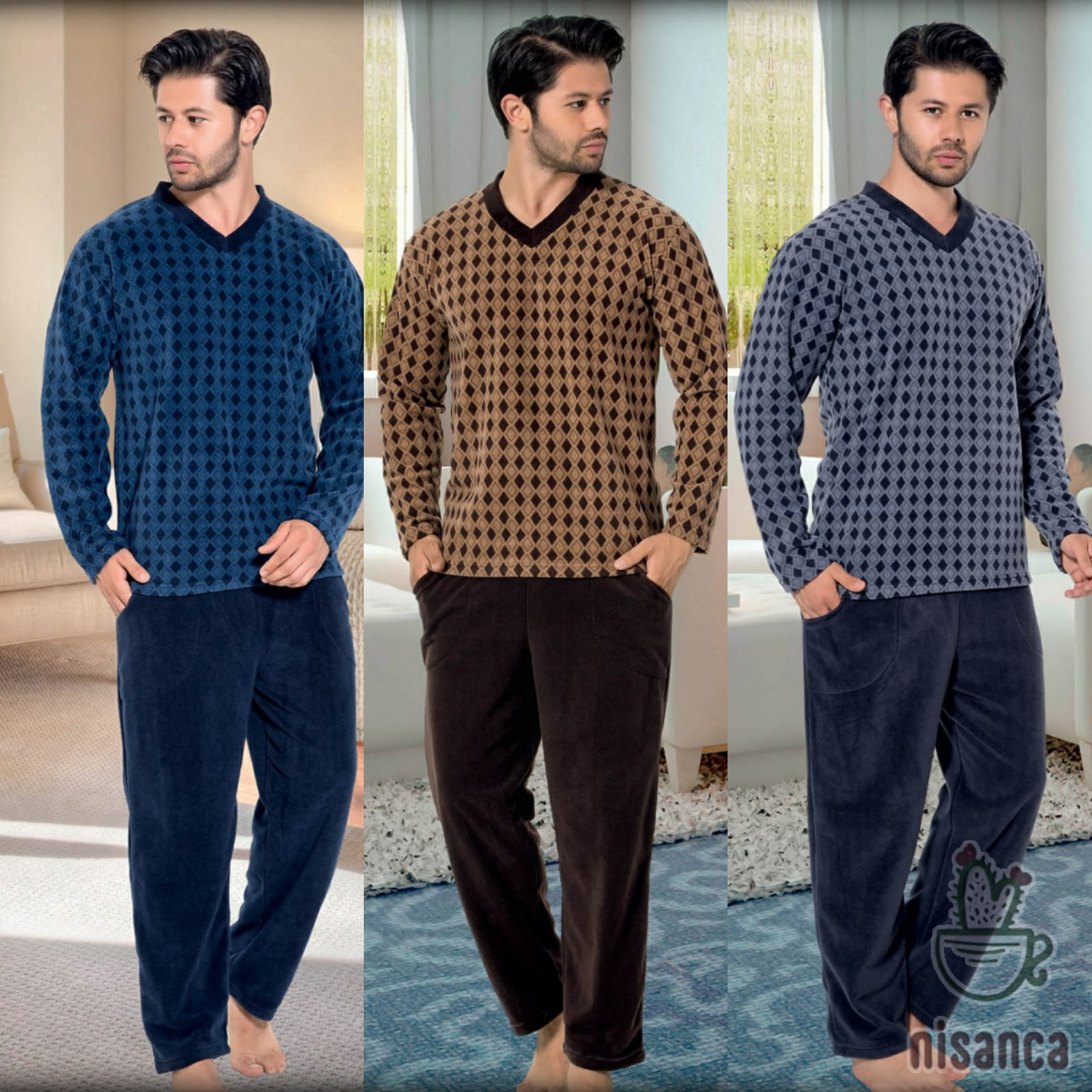Mens Pajamas Sleepwear Striped Winter Cotton Autumn title=