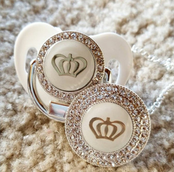 MIYOCAR 11 color silver bling gold crown pacifier and clip BPA free dummy unique design GCR2-1 - discount item  30% OFF Feeding