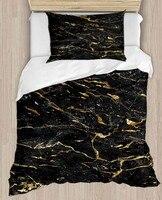Else Black Golden Yellow Marble Design 4 Piece 3D Print Cotton Satin Single Duvet Cover Bedding Set Pillow Case Bed Sheet