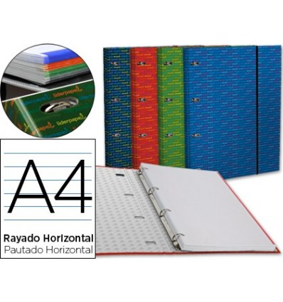 WALLET WITH REPLACEMENT LEADERPAPER A4 HORIZONTAL LINED 4 RINGS 20MM 4 Pcs