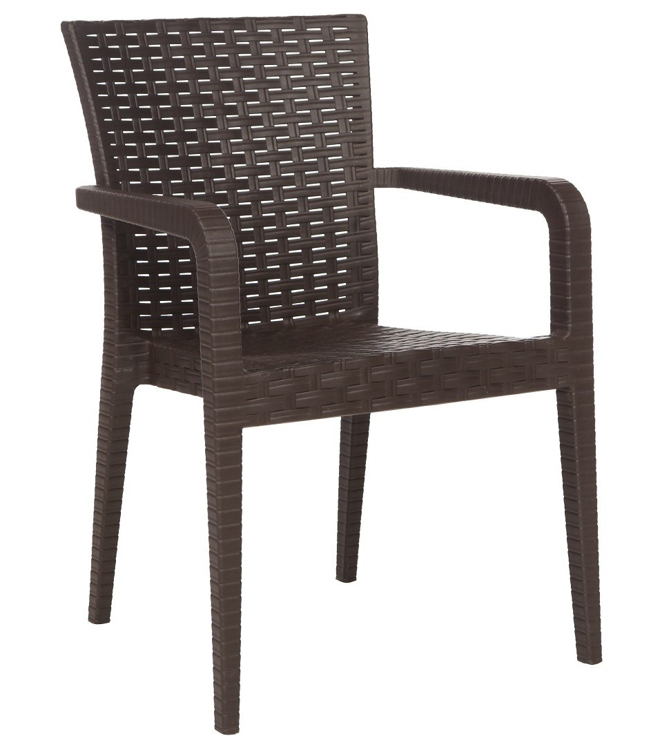 Armchair JAZMIN, Stackable Polypropylene Brown Chocolate