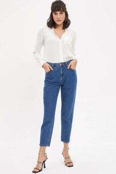 DeFacto Woman Spring Blue Denim Jeans Women Casual NInth Denim Pants Female Denim Trousers-K9063AZ20SP