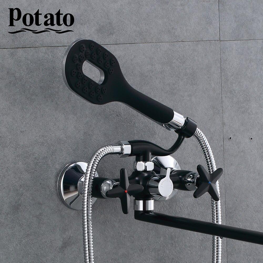 Картофель ванна смесители душ набор душ насадка ванная двойной контроль душ ванна смеситель ванна смеситель p22322-