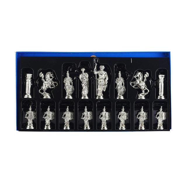 Figurines historiques romaines faites à la main, pièces d'échecs en métal 11cm, planche (sans plateau) 6