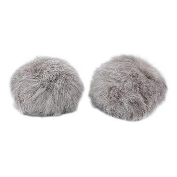Pompon Made Of Natural Fur (rabbit), D-10cm, 2 Pcs/pack (J Mouse)