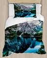 Anders Blauwe Sneeuw Berg Bevroren Lake 4 Stuk 3D Print Katoen Satijn Dekbedovertrek Beddengoed Set Kussensloop Bed vel