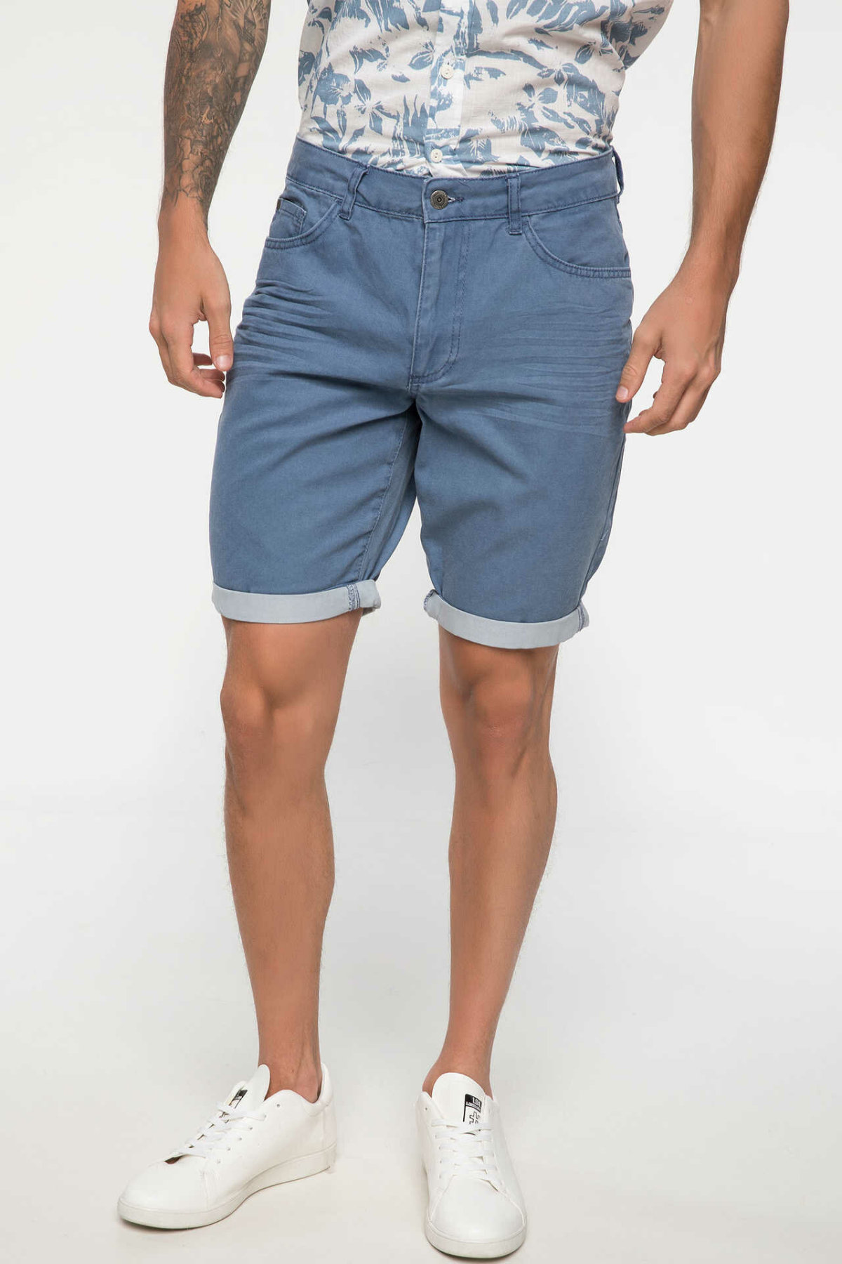 DeFacto Man Summer Blue Denim Shorts Men Casual Loose Denim Shorts Male Bermuda Short Bottoms-I8436AZ18SM