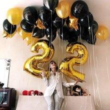 1pc 16/30/40 polegada rosa ouro folha de alumínio número balões 0-9 aniversário casamento noivado festa decoração globo crianças bola suprimentos