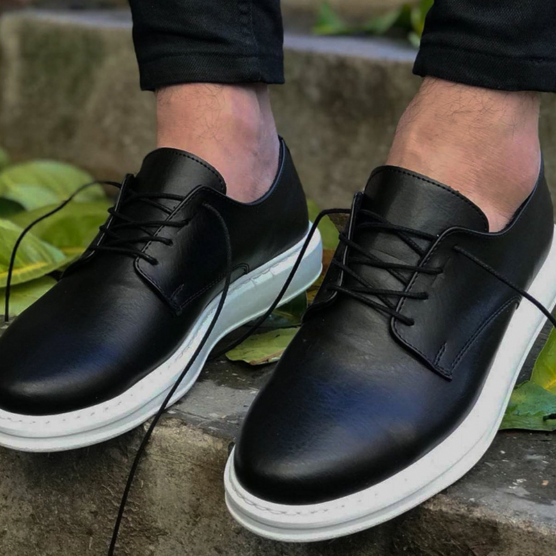 Chekich Men Casual Shoes For Men Sport High Sole Shoes Lace-up Men Sneakers Shoes Comfortable Flexible Fashion Style Leather Wedding Classic Shoes Breathable Walking Running Sneakers Tenis Zapatillas Hombre CH003