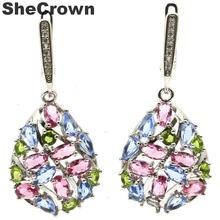 2016 Hot Style Long Big Green Emerald, White CZ Ladies Wedding Party 925 Silver Earrings Gift 55x22mm