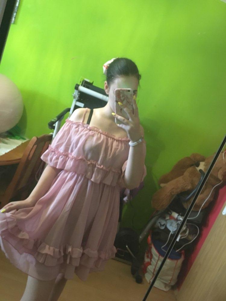Elegant Ruffle Off Shoulder Strap Summer Pink Dress Women Casual Chiffon Pleated Blue Dress Loose Holiday Short Dress photo review
