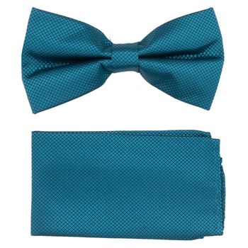 Men's bow tie, pocket square (microfiber, blue) 53732