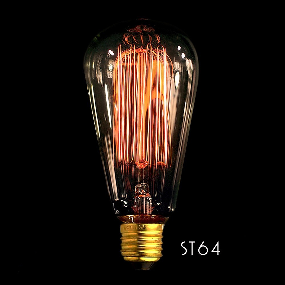 ST64 Vertical Bombilla de filamento E27 40W Edison Vintage Decoracion Industrial Bombillas Edison clásicas bombilla de luz con filamento LED E27 4W 220V 240V bombilla incandescente Retro cálida bombilla Edison para lámpara colgante