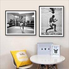 Affiche Photo Vintage en noir et blanc de mohammad Ali, entraînement pour la lutte contre la briane, peinture sur toile, décor mural imprimé