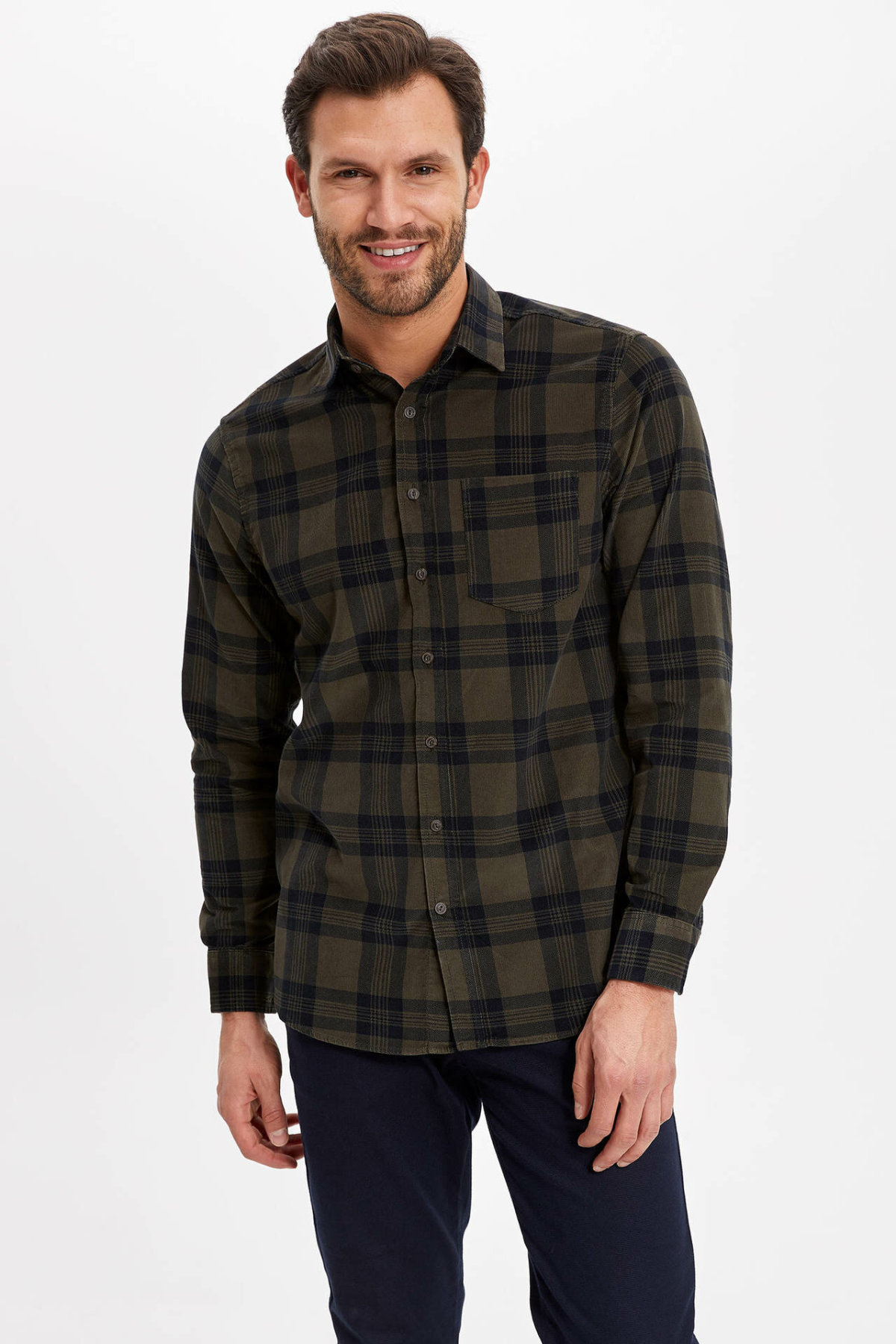 DeFacto Men Autumn Fashion Black Green Plaid Cotton Shirt Long Sleeve Pocket Decors Casual Male Shirt-J1156AZ18WN-J1156AZ18WN