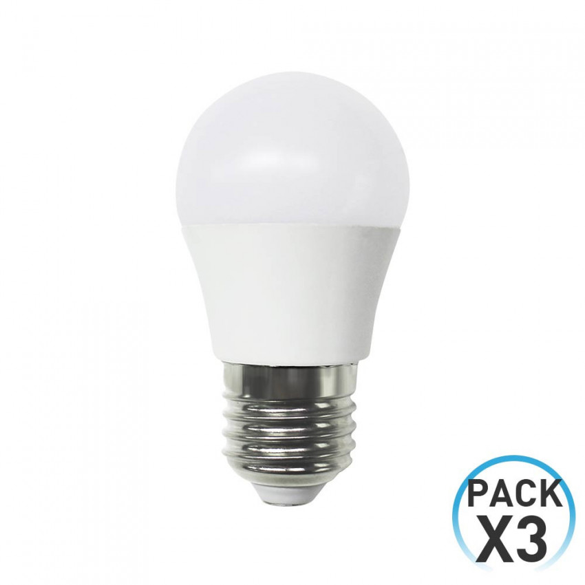 Pack 3 LED Bulbs Spherical E27 6W Equi.40W 470lm 3000K 15000H 1Primer Low Cost
