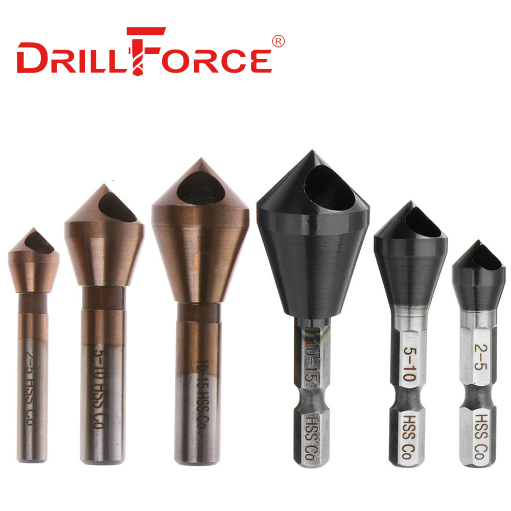 Drillforce Tools Countersink Drill Bits HSSCO M35 Cobalt Deburring 90 Degree Chamfer Chamfering Hole Type Cutter(2-5 5-10 10-15)