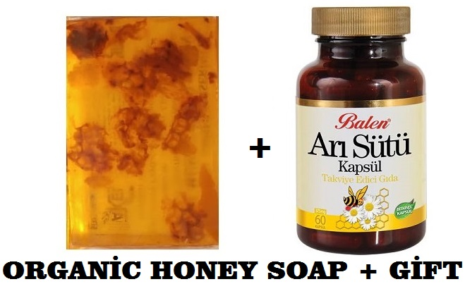 (gift Items)HANDMADE NATURAL HONEY SOAP 100gr+Gift Food Supplement Health ROYAL JELLY BEE