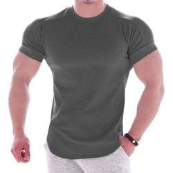블랙 체육관 t 셔츠 남성 휘트니스 스포츠 코튼 티셔츠 남성 보디 빌딩 운동 스키니 티 셔츠 여름 캐주얼 단색 탑스 의류