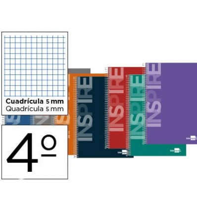 SPIRAL NOTEBOOK LEADERPAPER ROOM INSPIRE HARDCOVER 80H 60 GR TABLE 5MM CONMARGEN ASSORTED COLORS