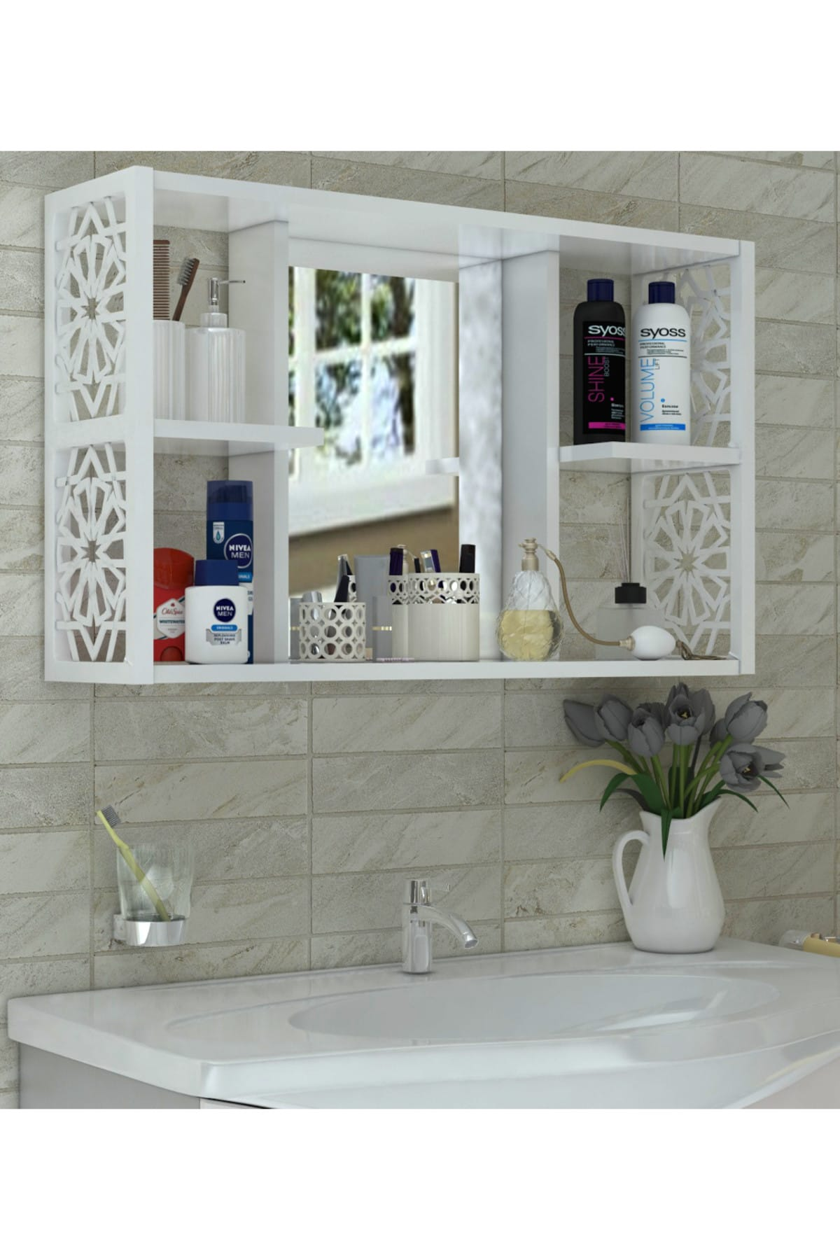 White Special Design Bathroom Wall Cabinet Mirrored Modern A+Quality MADE In TURKEY Sturdy Durable Luxurious Patterned Accessory