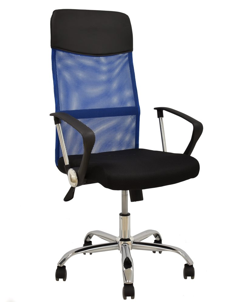 Office Armchair GINO (H), Blue Mesh & Fabric Mesh Black