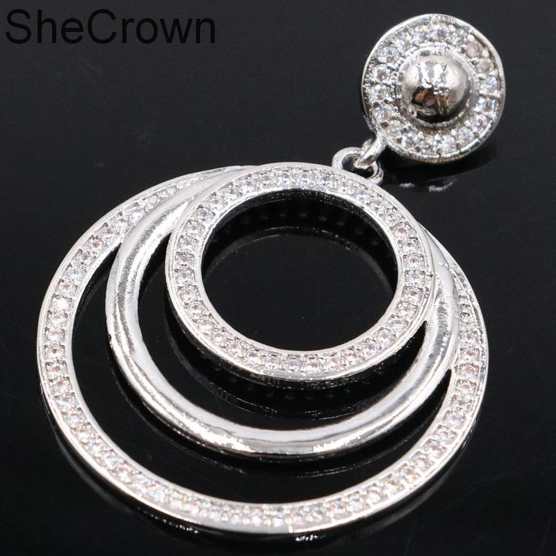 46x31mm Hot Sell Round Shape White Sapphire Gift For Woman's Silver Pendant